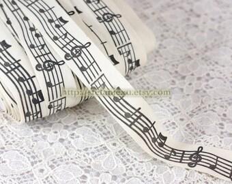 2 Yards Sewing Tape/Ribbon - Black Music Notes, B