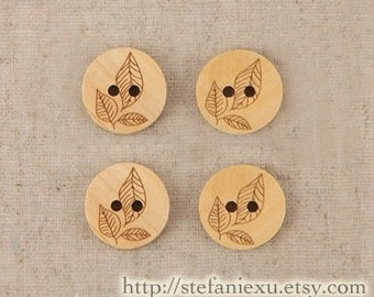 Japanese Wooden Buttons - Chic Leaf Leaves Floral  (4 in a set)