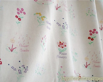 Natural Chic Daisy Little Flowers Garden - Japanese Linen Cotton Blended Fabric (Fat Quarter)
