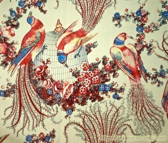 Cotton Fabric, Love Of Nature-Phoenix, Vintage Birdcage and Flowers (Fat Quarter 20x27 inches)