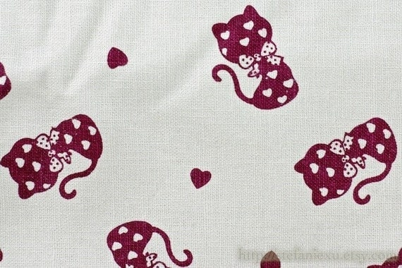 SALE-Japanese Linen Cotton Blended Fabric-Sweet Heart Kitty (Fat Quarter, 17.7x27.5 Inches)
