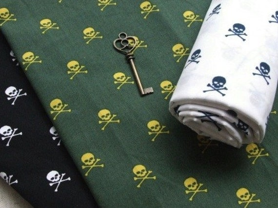 Punk Style, Cool Yellow Skulls On Alpine-Cotton Fabric (Fat Quarter)