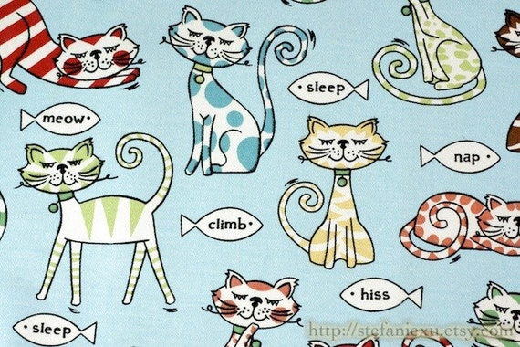 Zoology Collection, A Day Of Cats Family (Sky Blue)-Cotton Canvas Fabric (Fat Quarter)