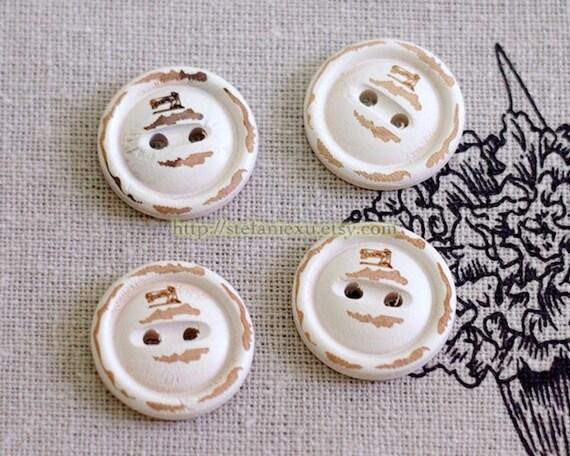 Unique Wooden Buttons - Vintage Sewing Machine, Antique White (4 in a set)