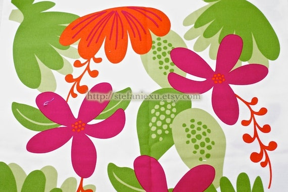 LAST PIECE - Light Canvas Fabric-Home Decor-Hawaii Floral (1/2 Yard, 19x43 inches)