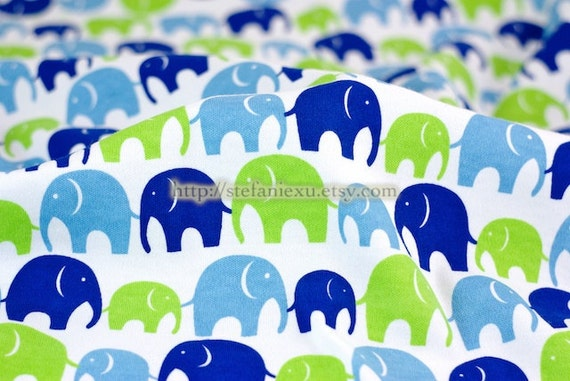 Zoology Collection, Multi Elephant Family (Blue and Green) - Knit Cotton Fabric (39.3x27.5 Inches)