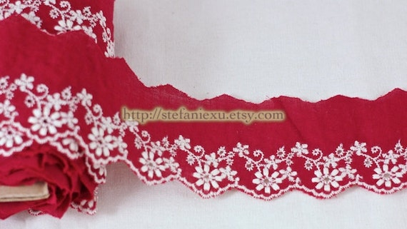 Embroidered Cotton Fabric Lace - White Floral On Red
