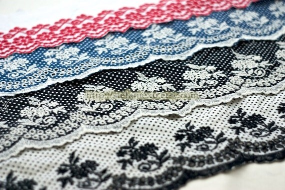 Embroidered Cotton Fabric Lace - Floral With Polka Dots, Scalloped Edge (Red, ONLY Red Left)