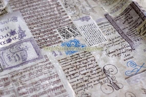 Unique Linen Collection-Vintage Poem, Letters and Music Note (Fat Quarter)
