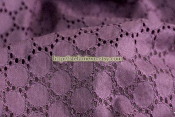 SALE, LAST PIECE-Purple Eyelet Lace Circles-Japanese Cotton Fabric (0.8 Yard)