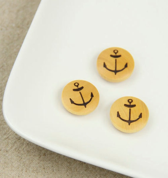 Wooden Buttons, Domed Bead - Nautical Marine, Painted Anchors (2CM, 4 in a set)
