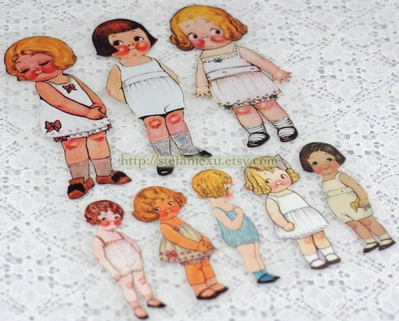 Offset Printing Iron On Transfer - Retro Paper Doll Collection, A (1 Sheet)