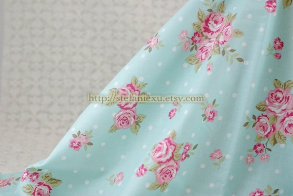 LAST PIECE-Shabby Chic Rose and White Polka Dots, Aqua Blue  - Light Weight Cotton Fabric (16.5x55 Inches)