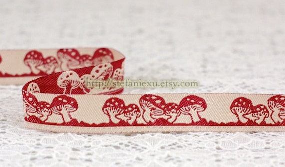1 Yard Embroidery Sewing Ribbon/Trim - Dark Red Mushroom Forest (W1.5CM)