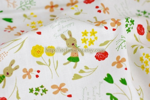 Zoology Collection, Dancing Bunny In Spring Garden -Cotton Fabric (1/2 Yard)
