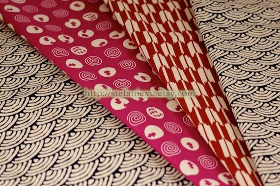 Japanese Traditional Pattern Patchwork, Ocean Wave, Goldfish and Arrow-Japanese Cotton Fabric (1/2 Yard, 17.7x55.1 Inches)