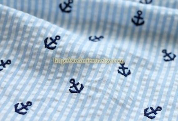 Nautical Marine, Embroidered Navy Anchors On Neat Blue Stripes - Japanese Bubble Cotton Fabric (1/2 Yard)