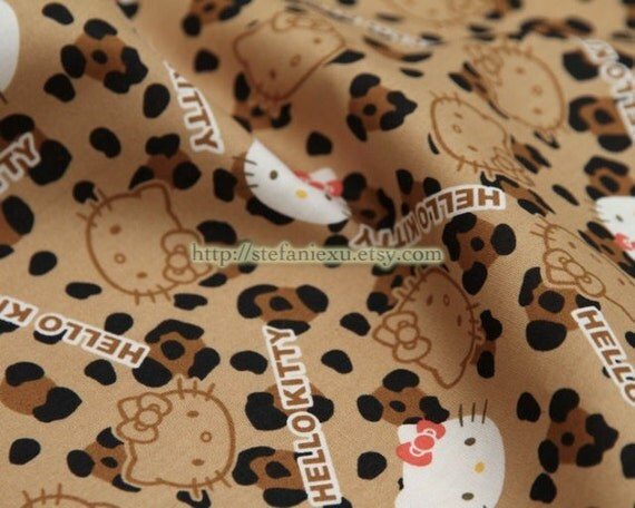 Japanese Cotton Fabric-Fashion Leopard Red Bow Hello Kitty Head(Fat Quarter)