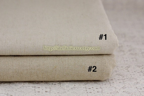 Solid Linen, Natural White(No.1) - Linen Cotton Blended Fabric (1/2 Yard)