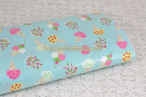 Sweet Ice Cream On Sky Blue - Japanese Light Weight Waterproof PVC Fabric (1/2 Meter, 19x55 Inches)