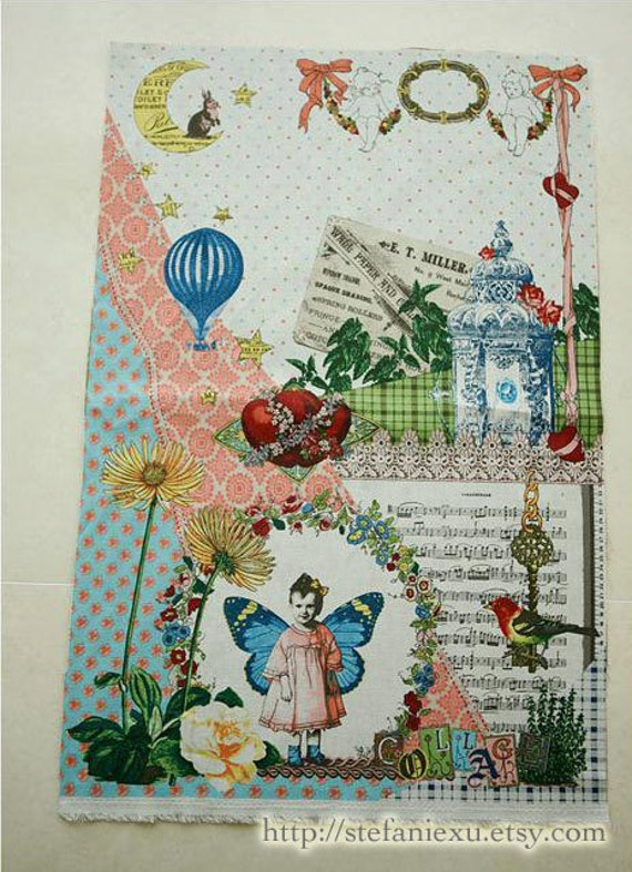 SALE Clearance Unique Linen - Vintage Hot Air Balloon Travel, Antique Rose,  Retro Postcards, Butterfly Kids(1 Panel, 33x55 inches)