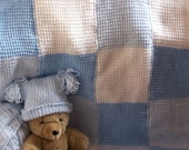 baby blanket blue and white tunisian checkerboard