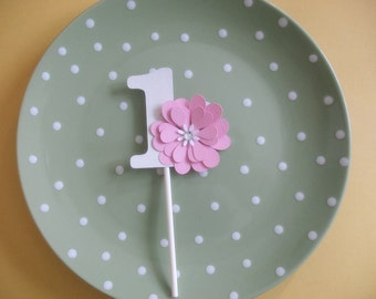 Flowery Girl's Number Cupcake Topper - Pink