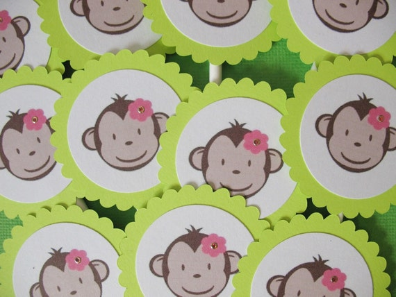 24 Mod Monkey Lime Green Girl Cupcake Toppers