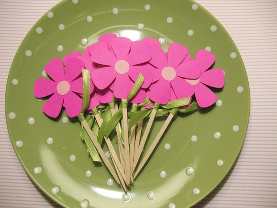 12 Neon Pink Flower Cupcake Toppers