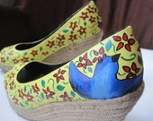 Whimsical Birds in the Garden Shoes - Size 7.5