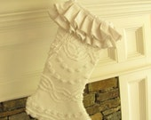 White Ruffle Top Vintage Flower Chenille and Linen Christmas Stocking