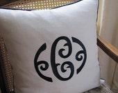 Custom Letter Linen Monogram Pillow - Navy Blue