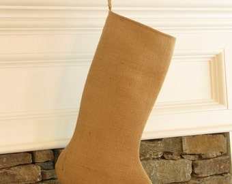 Burlap Christmas Stocking Plain