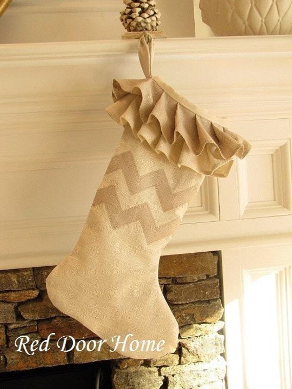 SALE Linen Chevron Zig Zag Christmas Stocking Natural Ruffle