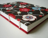 Yuzen red, turquoise, chocolate brown cherry blossom exposed spine journal - small