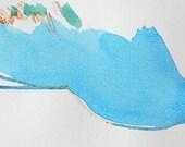 "Modern Small Art, 6 x 4.5"" original fine art -- ""Painting 105"" by Lauren Adams--  acrylic painting on paper"