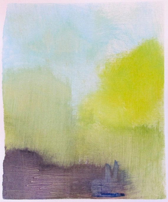 "Minimal Abstract Art, 9 x 10.5"" original fine art -- ""Painting 27"" by Lauren Adams--  acrylic painting on paper"