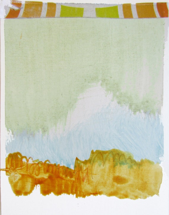 """Contemporary Abstract Landscape Art, 4.5 x 6"""" original fine art -- """"Painting 63"""" --  acrylic painting on paper"""