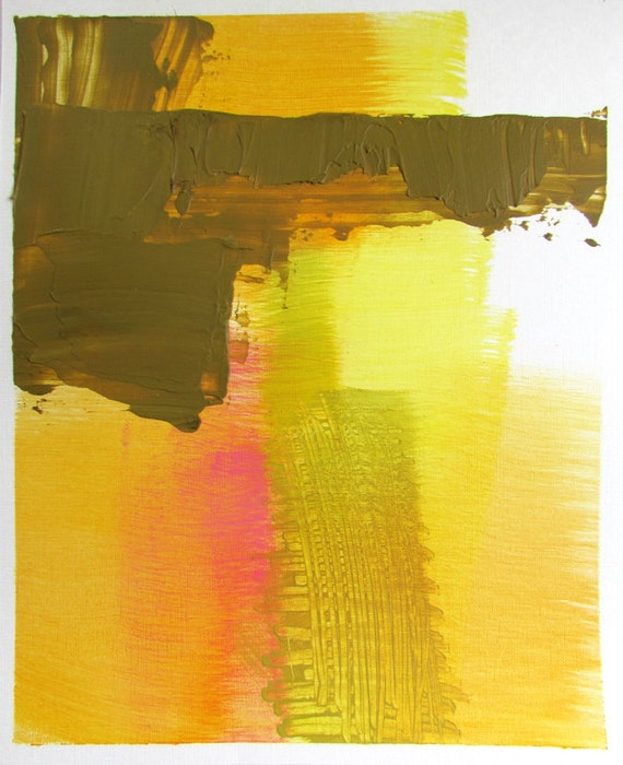 """Colorful Abstract Landscape Painting, 8 x 10 original fine art -- """"Painting 186"""" --  acrylic on paper"""