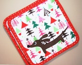 Doxie Whimsical Holiday Trees Kitchen Set of Two Supersized Christmas Dachshund Potholders Featuring Designer Cotton Fabric