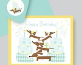 Doxie Birthday Party Super Fun Dachshund Birthday Card with Coordinating Envelope and Sticker in Aqua and Yellow Tones