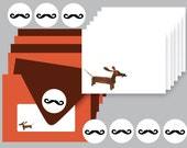 Wiener in Mustache Disguise Set of 6 Everyday Dachshund Note Cards with Coordinating Envelopes and Stickers