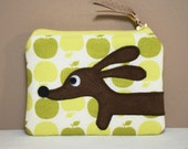 Doxie Green Apple Delight Cute Cotton Appliqued Whimsylicious Dachshund COIN PURSE Pouch Featuring Designer Cotton Fabric