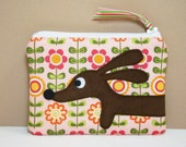 Dachshund Dog Coin Purse - Doxie in the Sweet Scandinavian Garden - Womens Accessory Pink Green