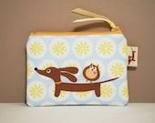 Dachshund Coin Purse - Doxie and Owl in the Sunny Sky Daisy Dot Garden - Dachshund Gift Handmade