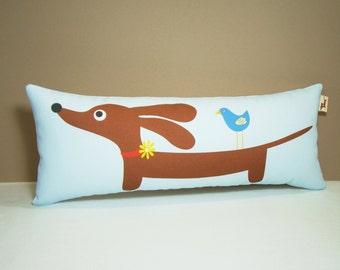 Dachshund Dog Pillow - Doxie and Bird Friend Whimsy Tube Pillow - Nursery Whimsical Home Decor Blue