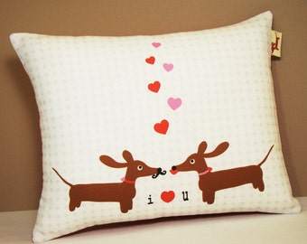 Wiener Dog Dachshund Pillow - Doxies in Love Wedding Anniversary Valentine Pillow