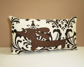 Dachshund Wiener Dog Pillow - Doxie in the Chocolate Damask Garden
