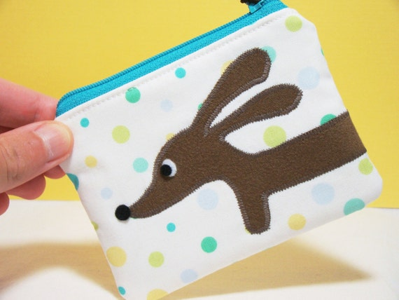 Doxie Whimsy Dots Cute Cotton Appliqued Whimsylicious Dachshund COIN PURSE Pouch Featuring Designer Cotton Fabric