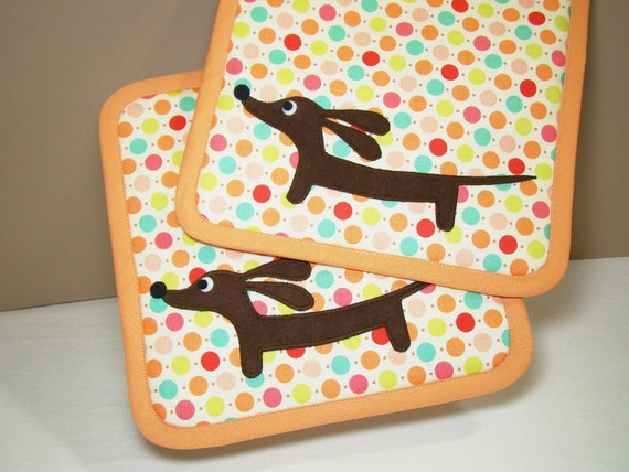Doxie Rainbow Dot Kitchen Set of Two Supersized Dachshund Potholders Featuring Designer Cotton Fabric